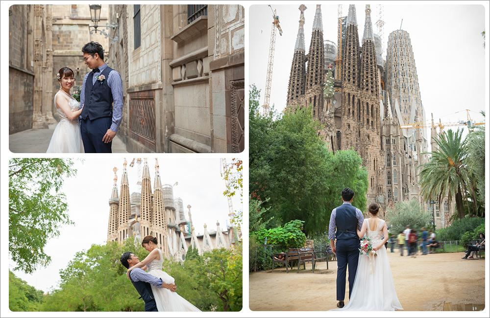 バルセロナでドレス持ち込みフォトウェディング,フォトウェディングカスタム撮影スペイン