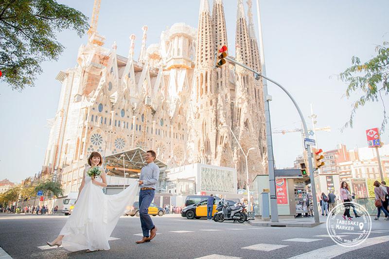 バルセロナ横断歩道撮影